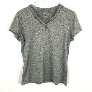 REI Gray Short Sleeve V Neck T-shirt L
